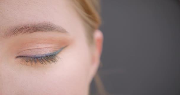 Vértes fél arcképe a fiatal szép kaukázusi női arc szemmel nézett kamera háttérrel izolált szürke