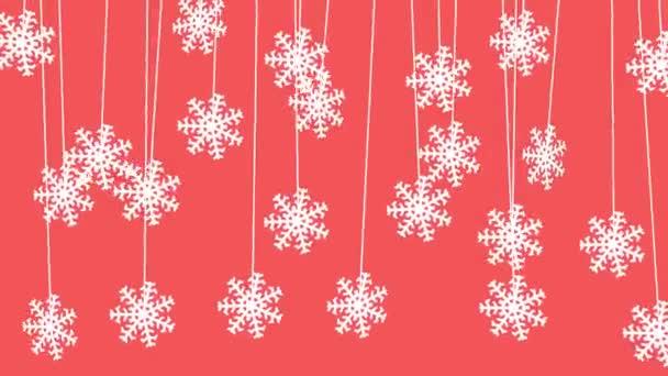 Vánoční pozadí animace s závěsné sněhové vločky