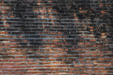 Antique Ancient Old Dirty Red Brick Wall on the Urban Street. Old Dirty Red Brick Wall pattern Background.