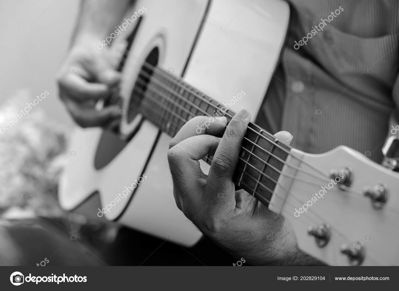 Man Playing Acoustic Guitar Outdoor Garden Black White Color Stock