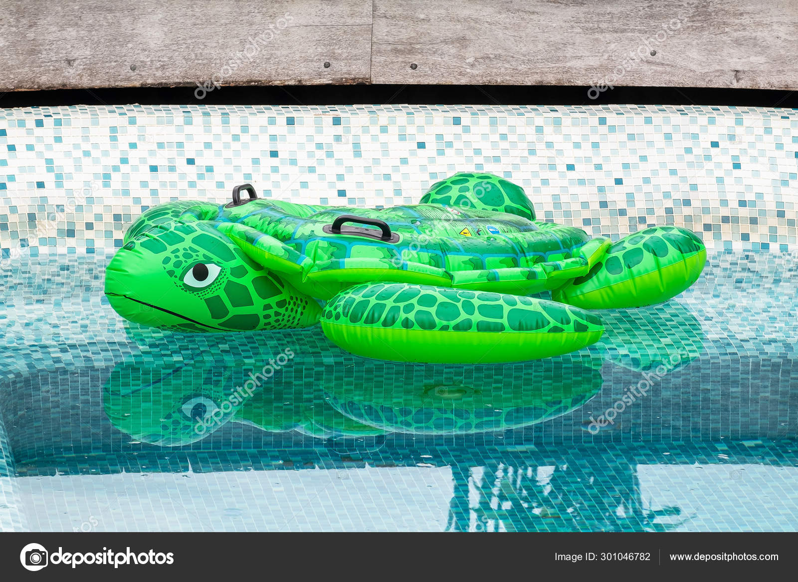Cute Giant Green Turtle Inflatable Poolfloat in the Swimming ...