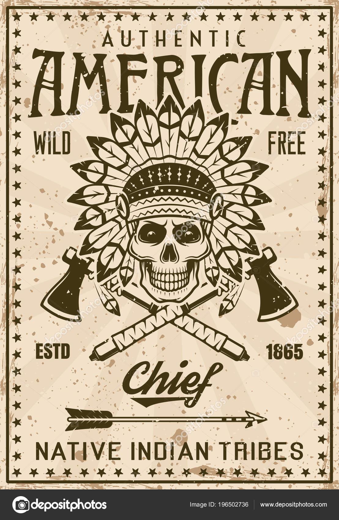 Cartel de tribu de indios americanos con cráneo jefe — Archivo ...