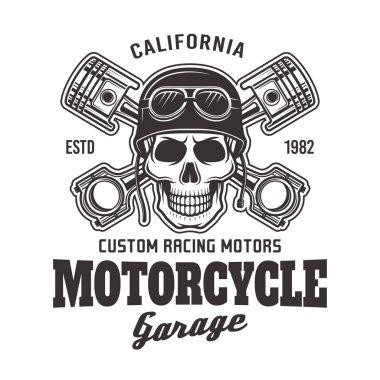 Motorcycle garage vector biker emblem with skull