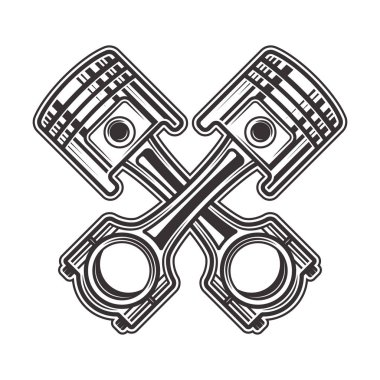 Two crossed pistons vector illustration