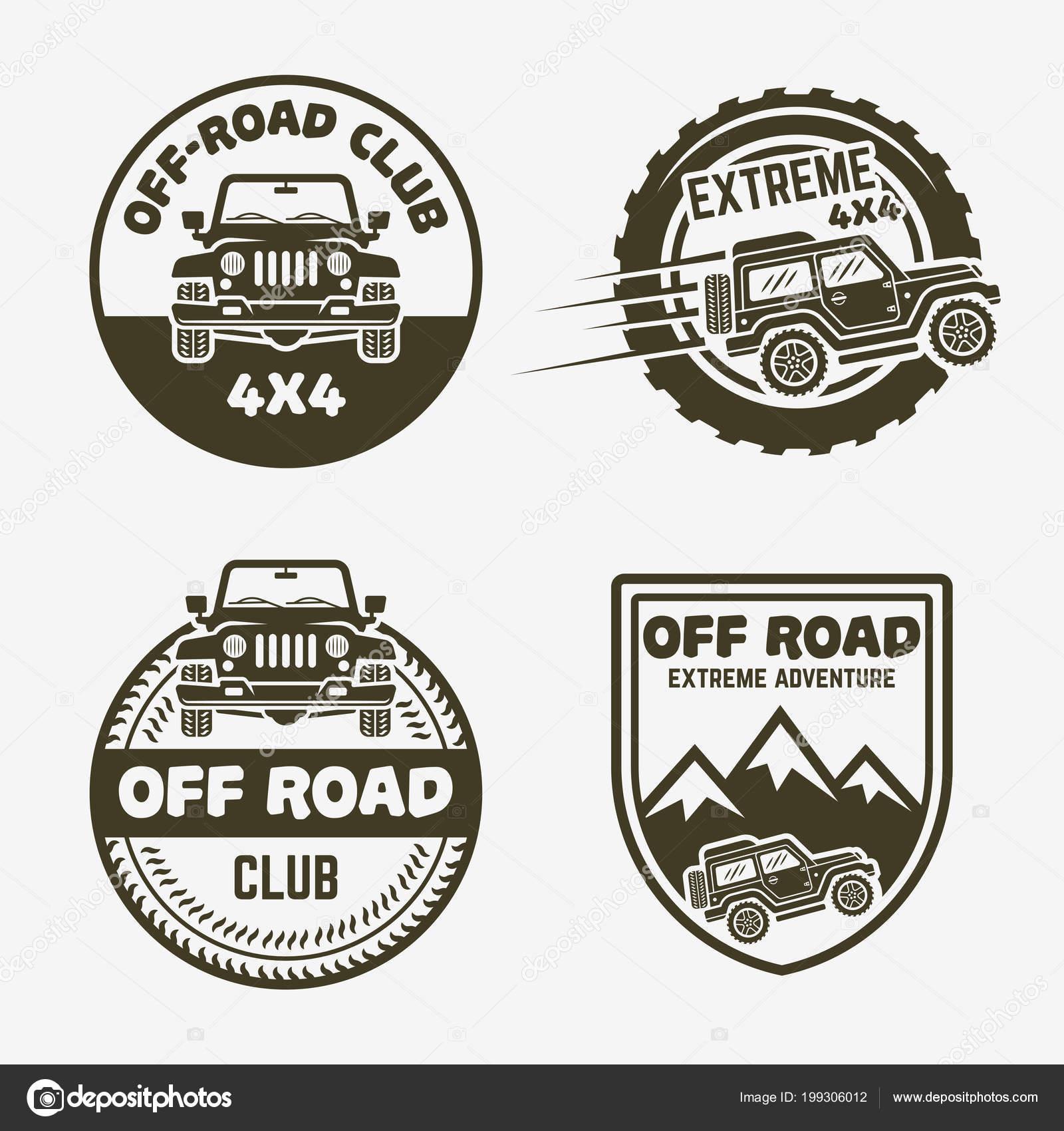 Off Road Suv Car Vintage Labels Emblems Badges Stock Vector
