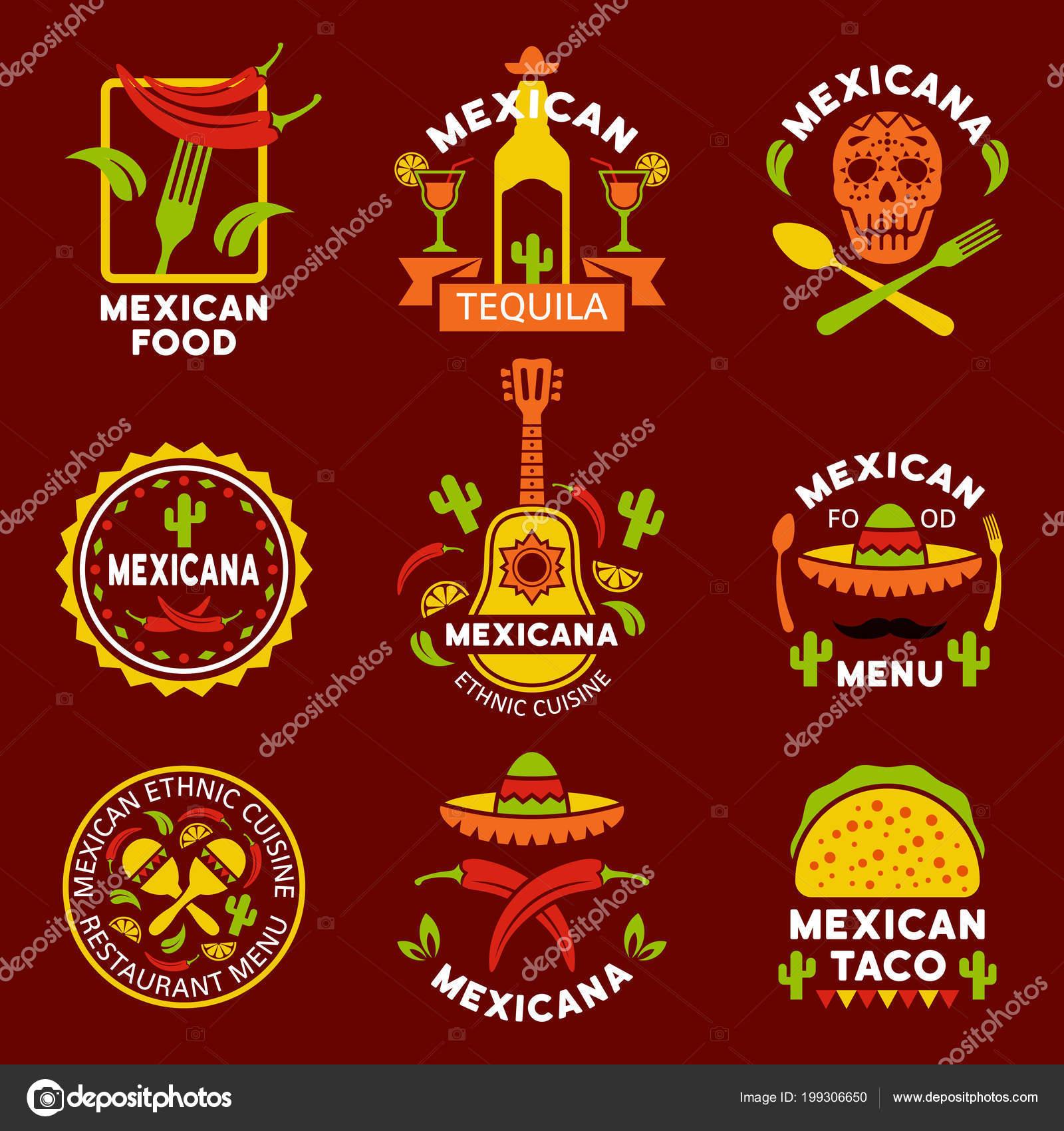 Mexikanische ethnische Küche Logos, Etiketten, Embleme — Stockvektor ...