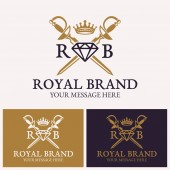 Fotografie Two crossed swords and diamonds with crown logo