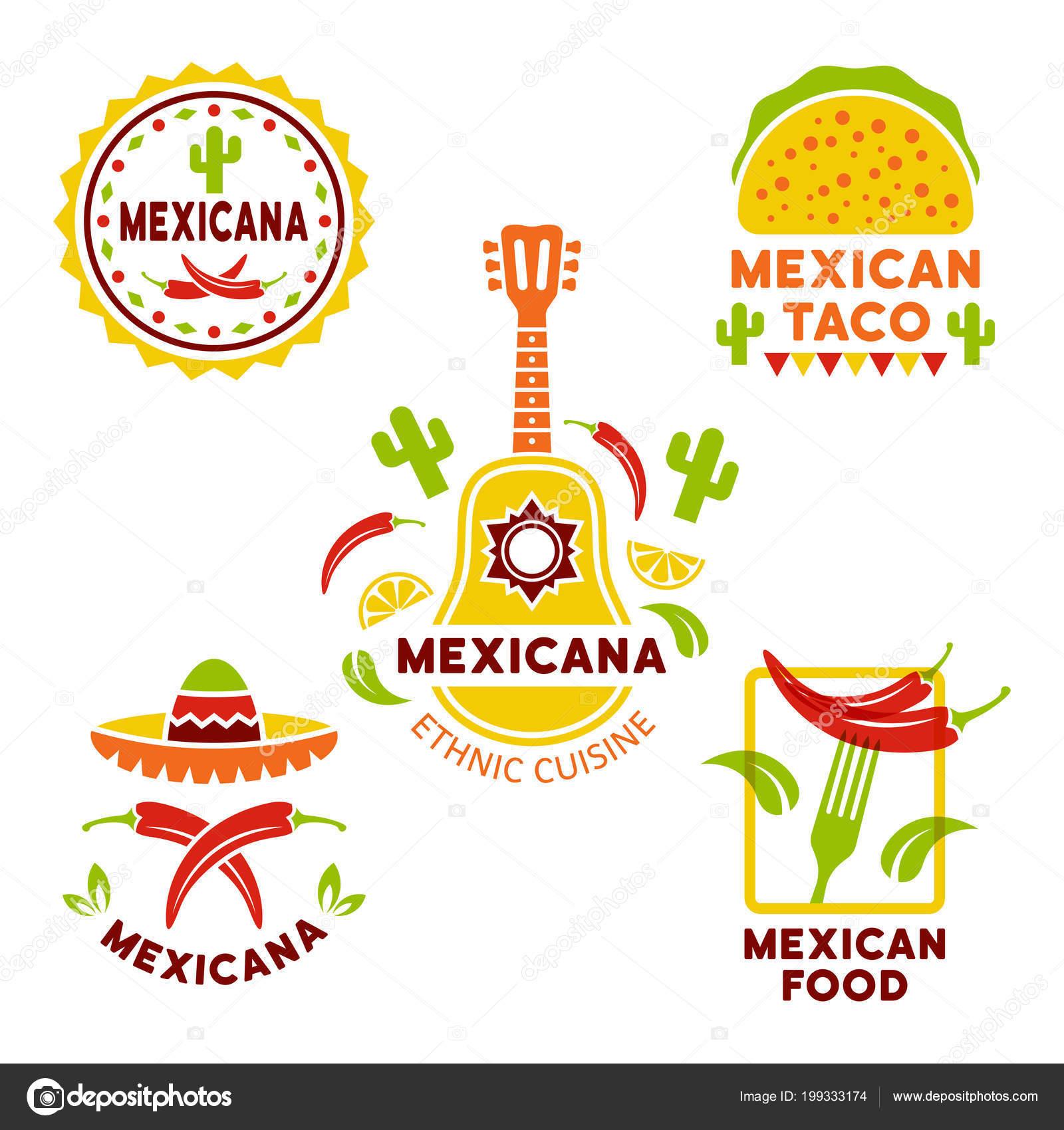Mexican Food Vector Colored Logos Templates Stock Vector