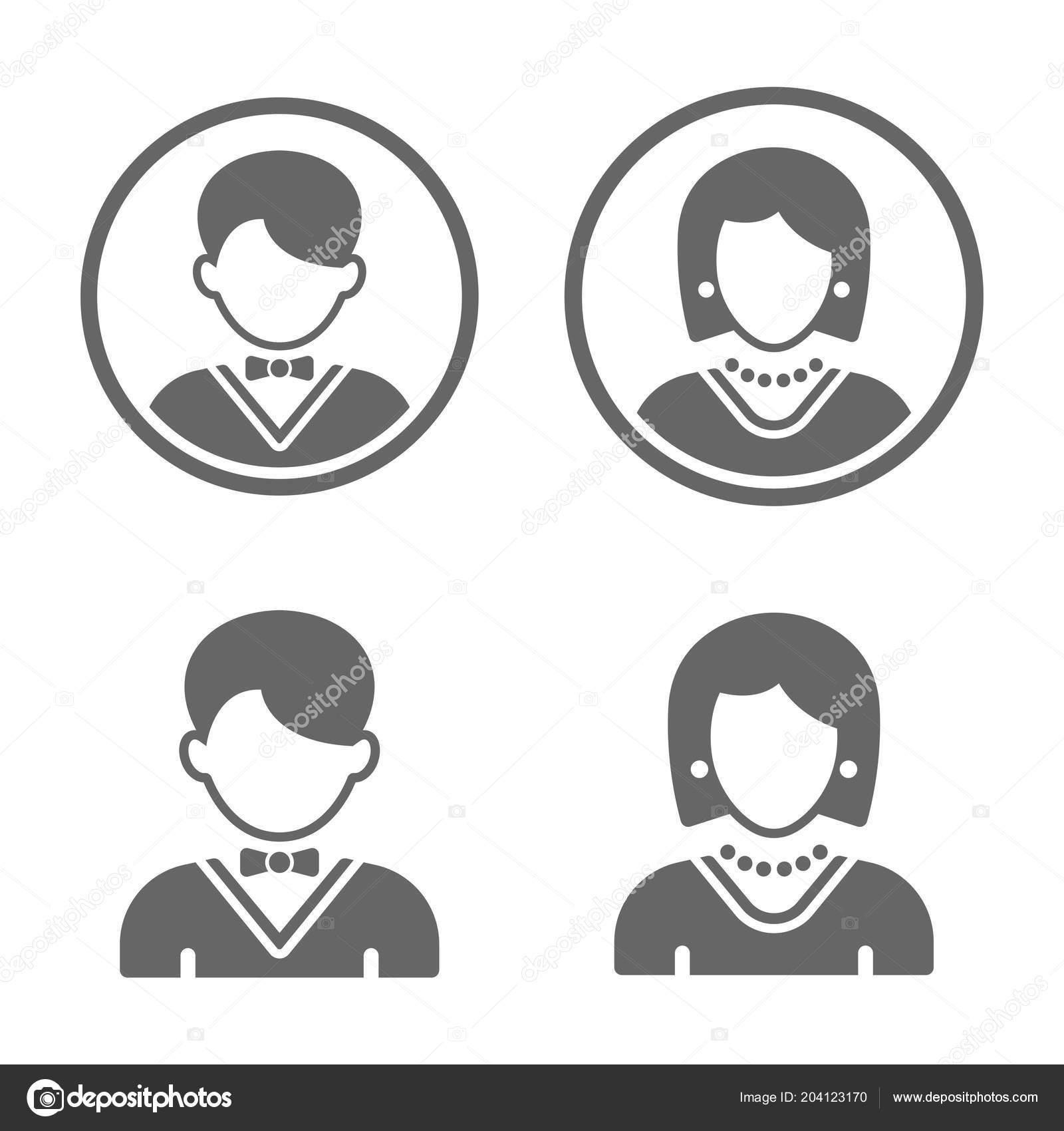 man and woman black vector user profile avatars stock vector