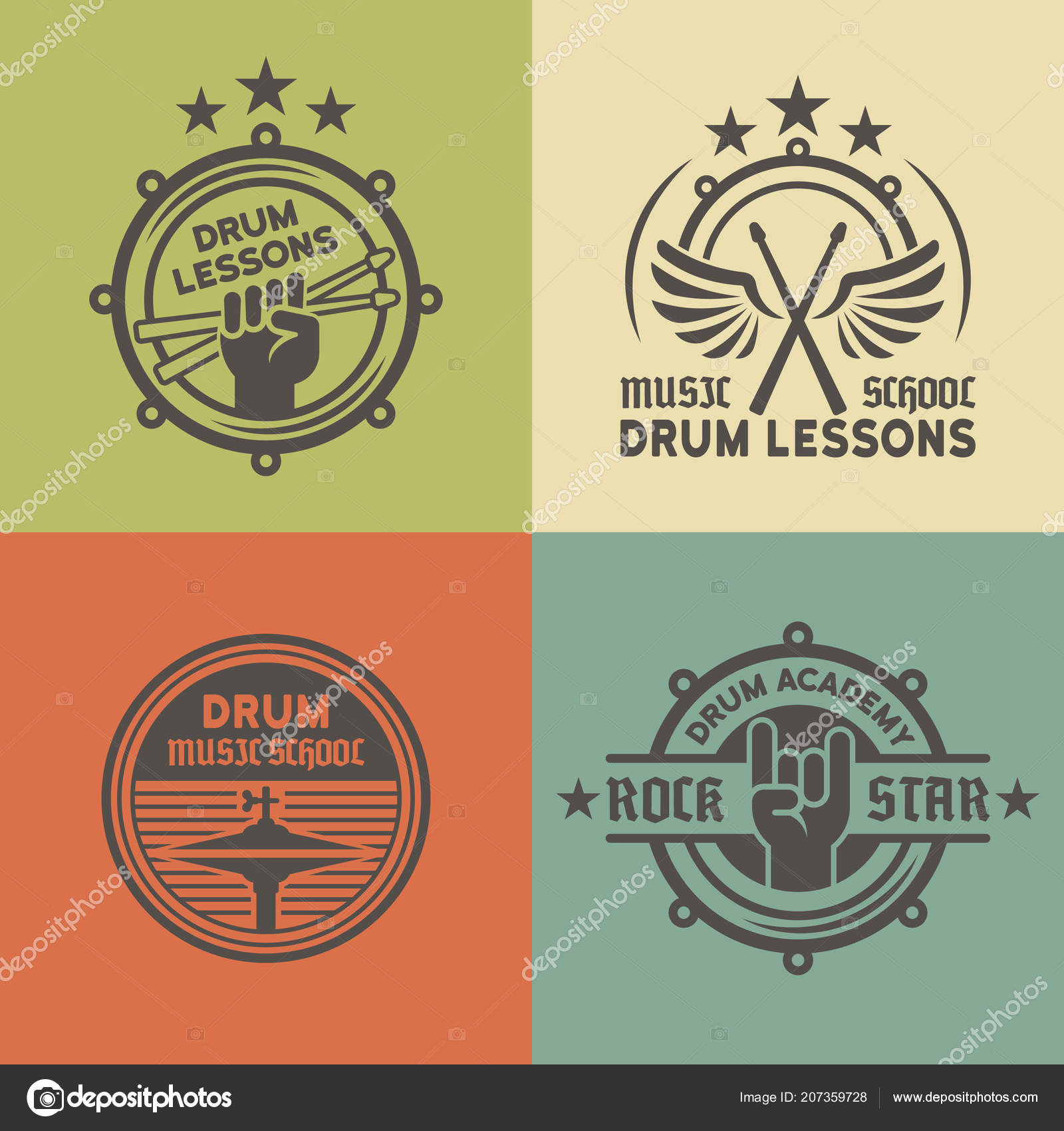 Drum school or academy vector colored emblems — Stock Vector