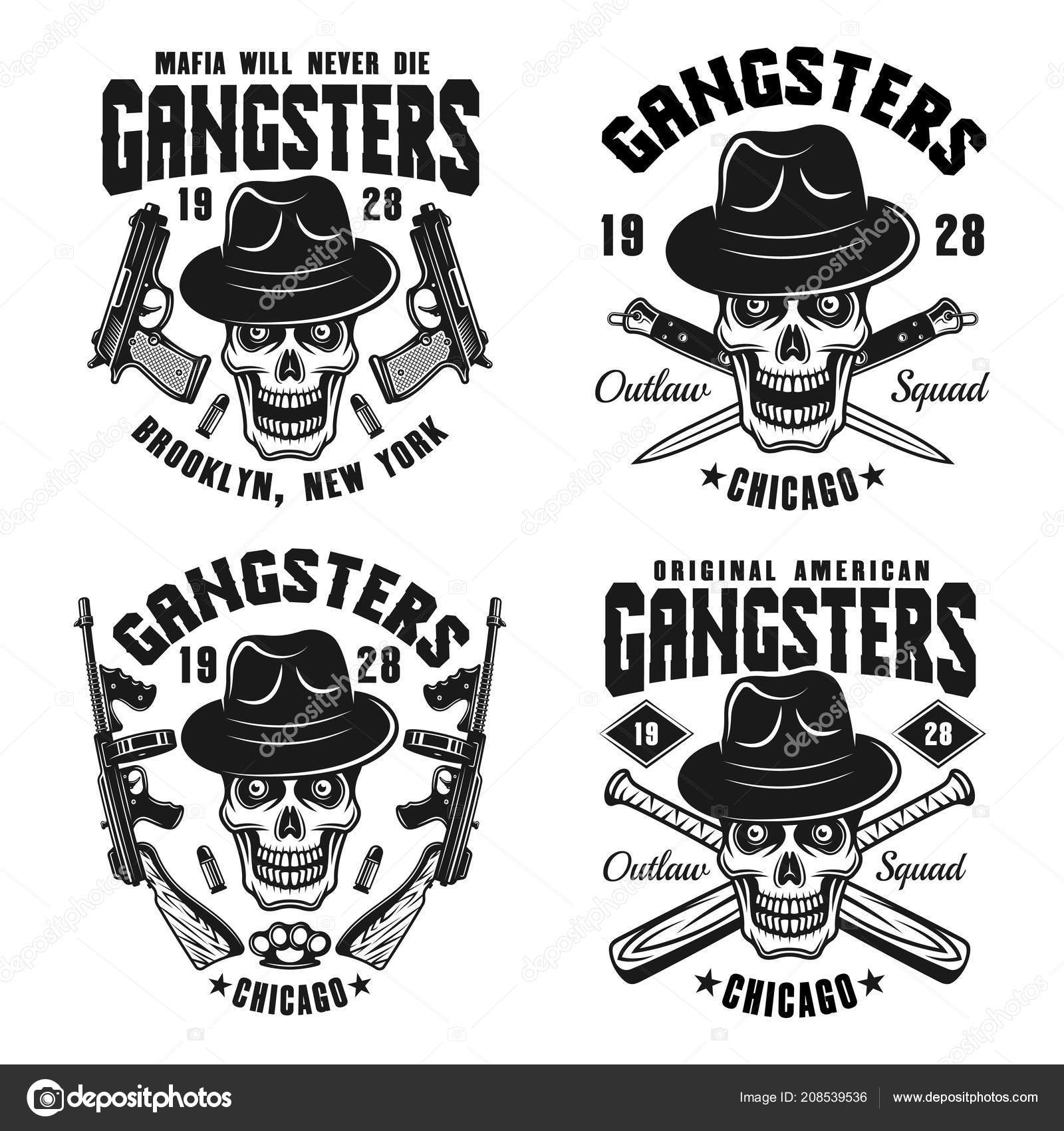 Gangsters vector emblems with skull in hat — Stock Vector ... 41d442a1bb58