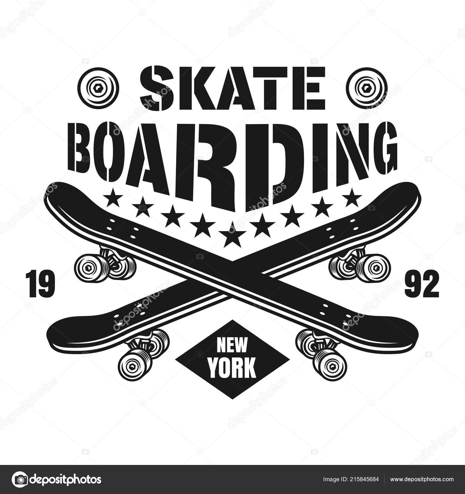ba4abd8b4 Skate vector brasão de armas com dois skates — Vetor de Stock ...