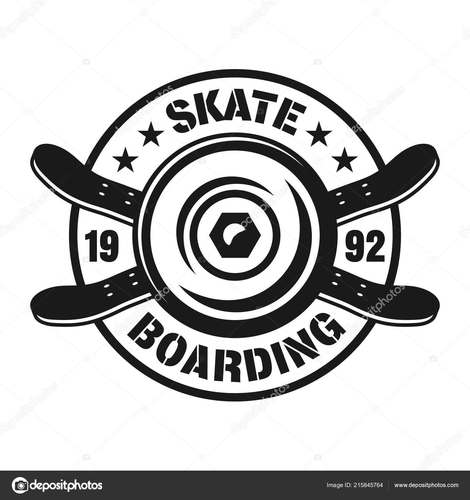 373c7f20 Skateboarding vector emblem with wheel and decks — Stock Vector ...