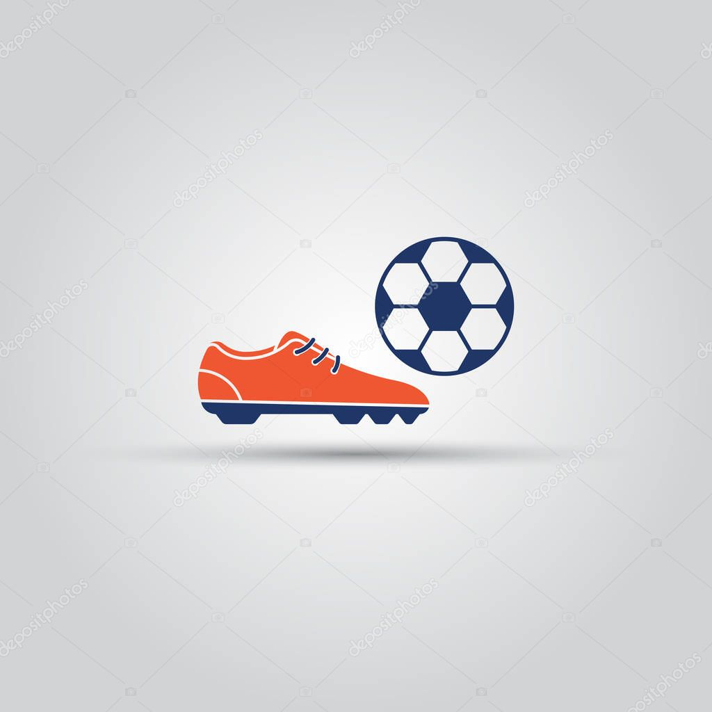 Soccer shoes and ball isolated vector colored icon