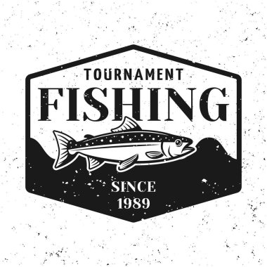 Fishing tournament vector badge shield with salmon
