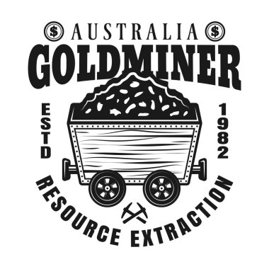 Gold mining vector emblem with full rail trolley