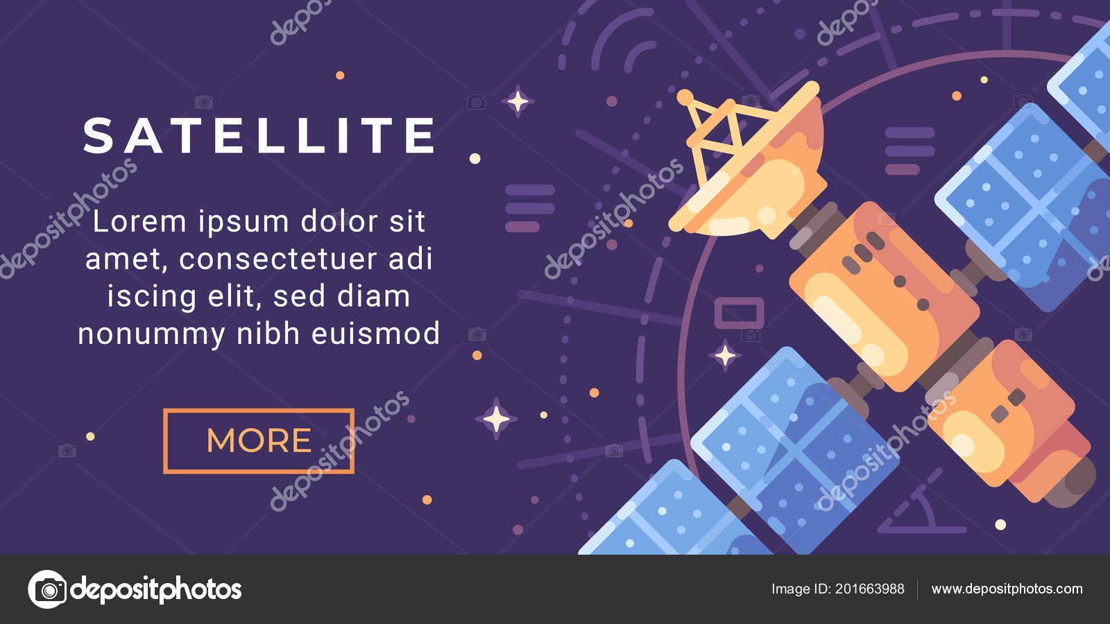 Space Exploration Banner Flat Illustration Astronomy Banner Satellite Space Stock Vector C Ivandubovik 201663988