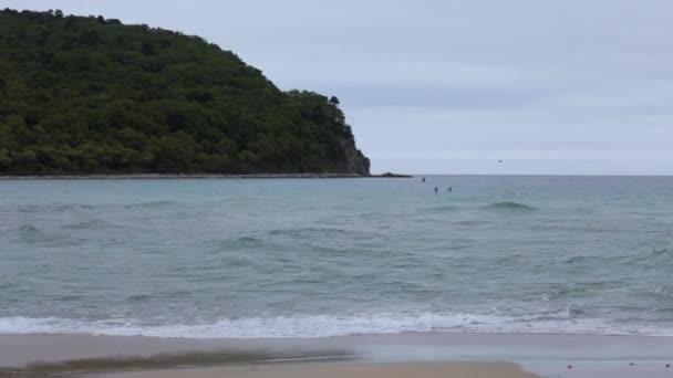 Malebný ostrov uprostřed moře, nedaleko pobřeží divoké. Petrov ostrov s legendární tis grove v Lazovsky zapopovednik v Primorského
