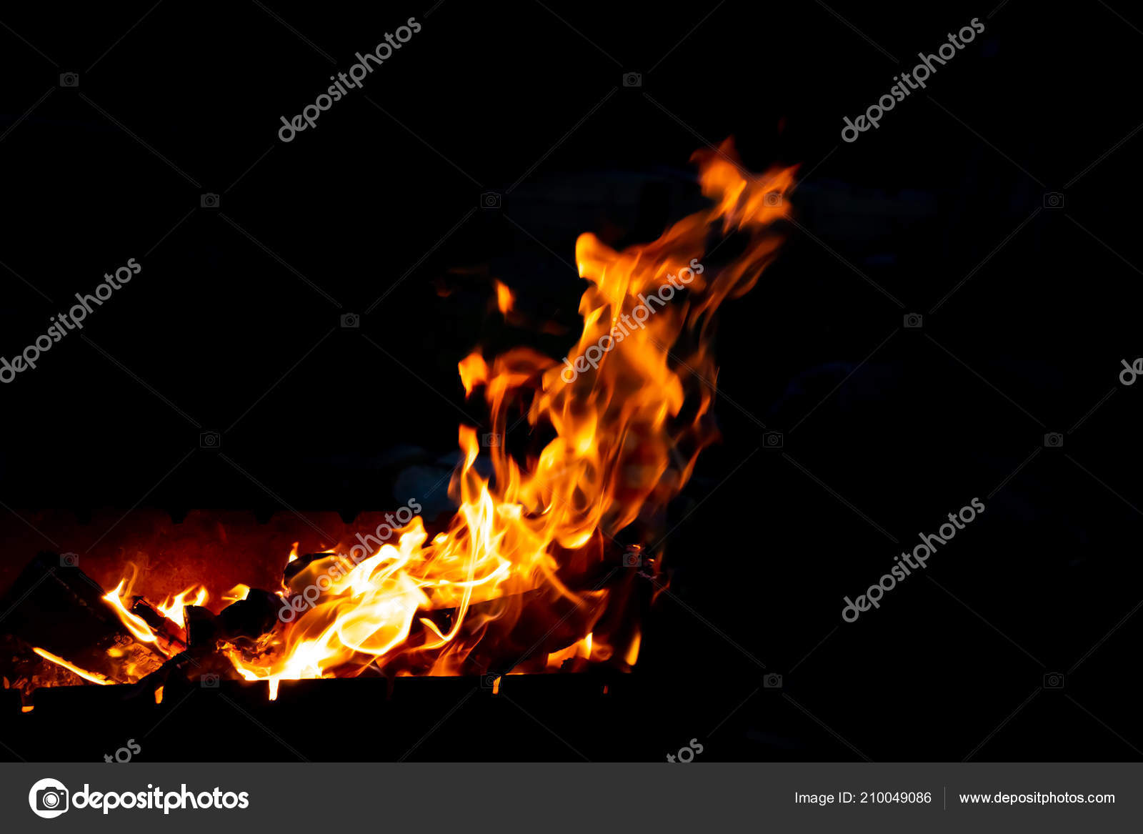 Flames Fire Burning Coals Grill Late Night Copy Paste