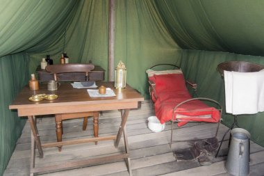 Tent interior in Sovereign Hill, an open air museum in Golden Point, a suburb of Ballarat, Victoria, Australia. Sovereign Hill depicts Ballarat's first ten years after the discovery of gold there in 1851.