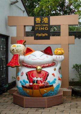 Large china cat in the Ngong Ping Village on Lantau Island, Hong Kong
