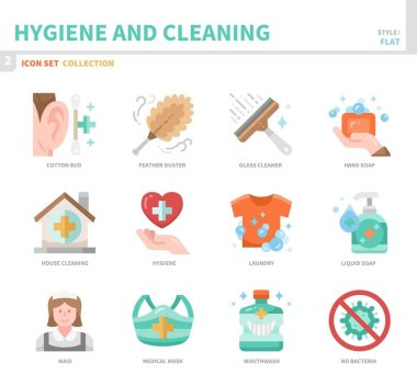 hygiene and cleaning icon set,flat style,vector and illustration