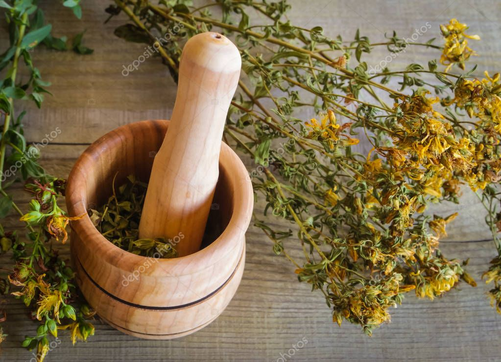 mortar with herb St. John's wort for the preparation of therapeutic decoctions and infusions used in cosmetology and medicine