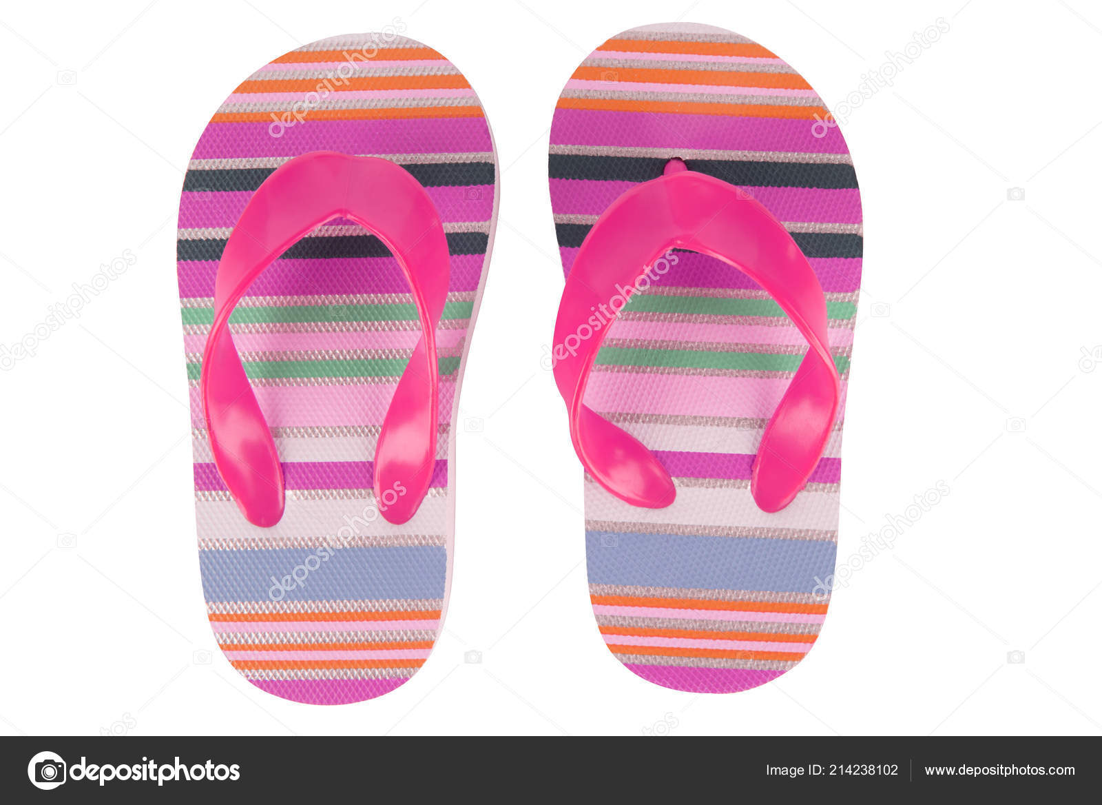 f17eb1a62528 Vacation Beach Sandals Colorful Flip Flops Isolated White Background — Stock  Photo