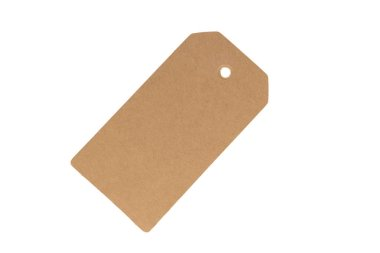 Natural blank old paper, cloth tag or label, isolated on a white background. Close up. Copy space for your text.