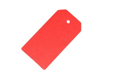Blank old paper, cloth tag or label, isolated on white background. Red color.