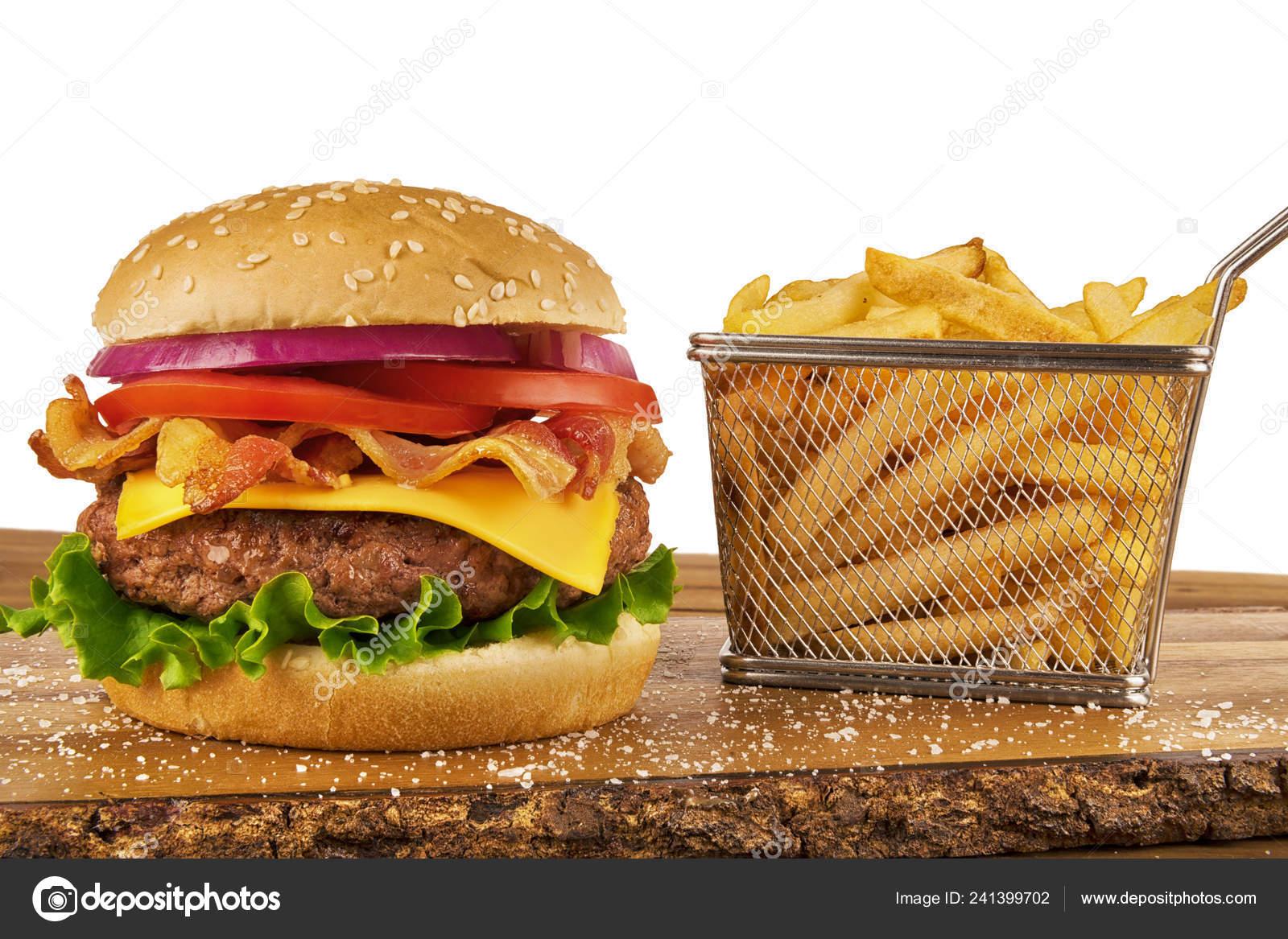 Hamburger French Fries Basket Ketchup Mustard Bottle