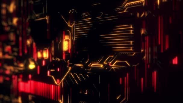 Cyber Tech digitális háttér, színes animációs neon fény vonalakkal.