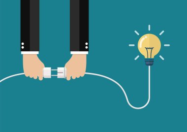 Man holding in hand plug and socket to connect an idea. Vector illustration