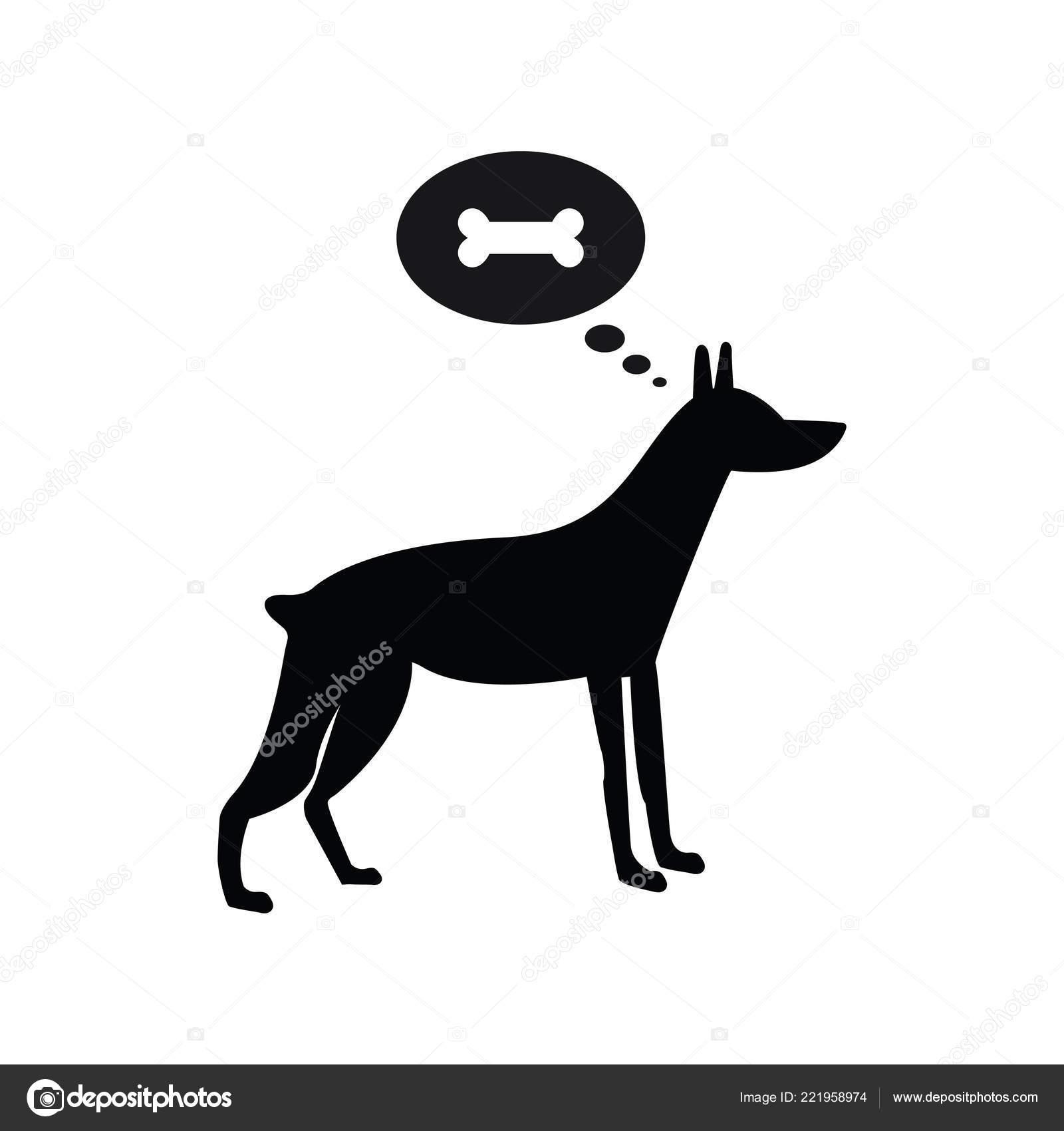 Pensare Cane Osso Nero Simbolo Sullo Sfondo Bianco Tondo