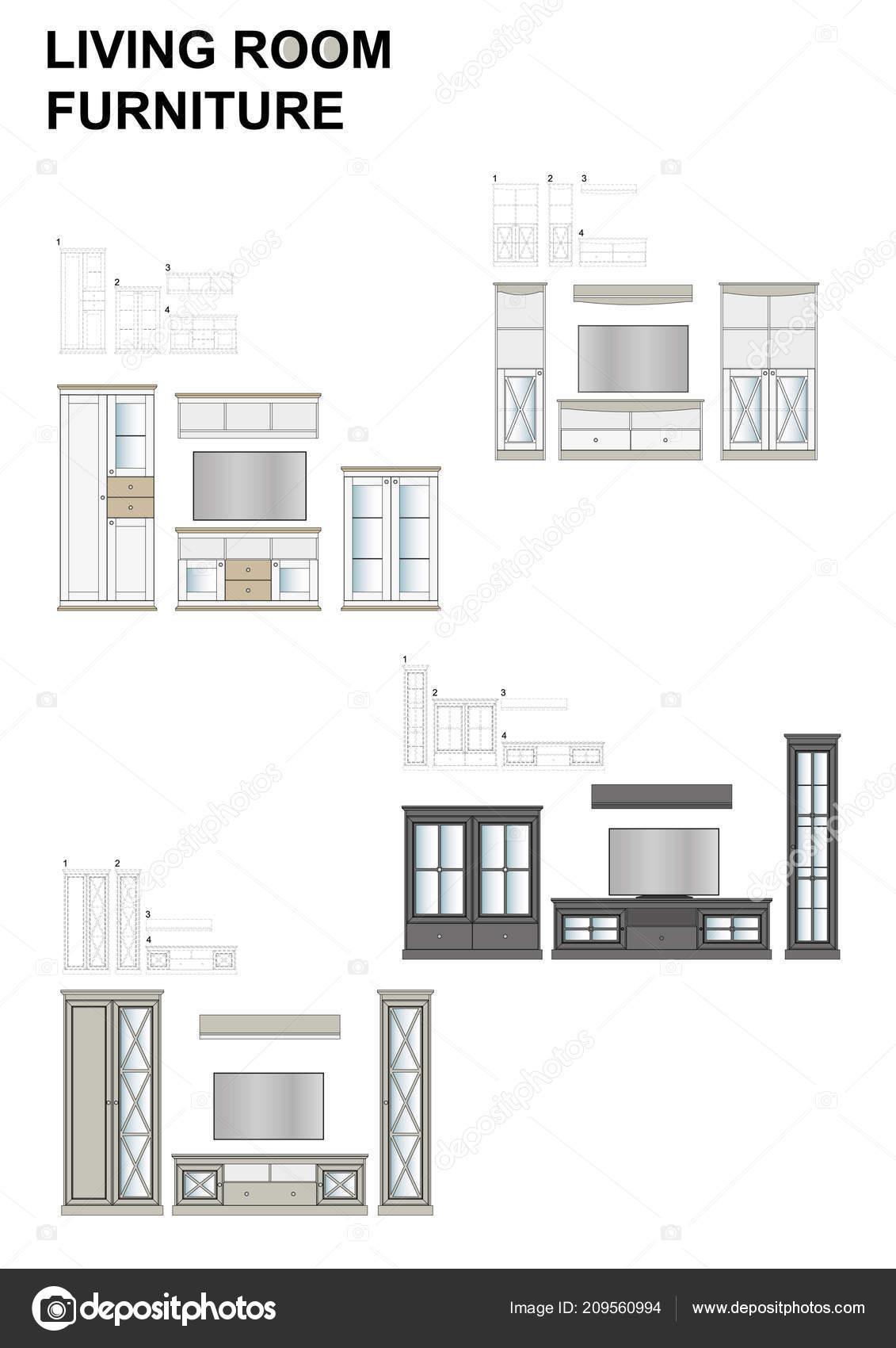 Living Room Furniture Range Sets Miniature Models Classical Style Stands U2014  Stock Vector