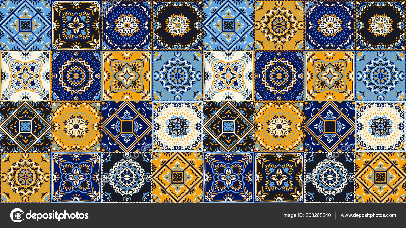 Modello di talavera. patchwork indiano. azulejos del portogallo
