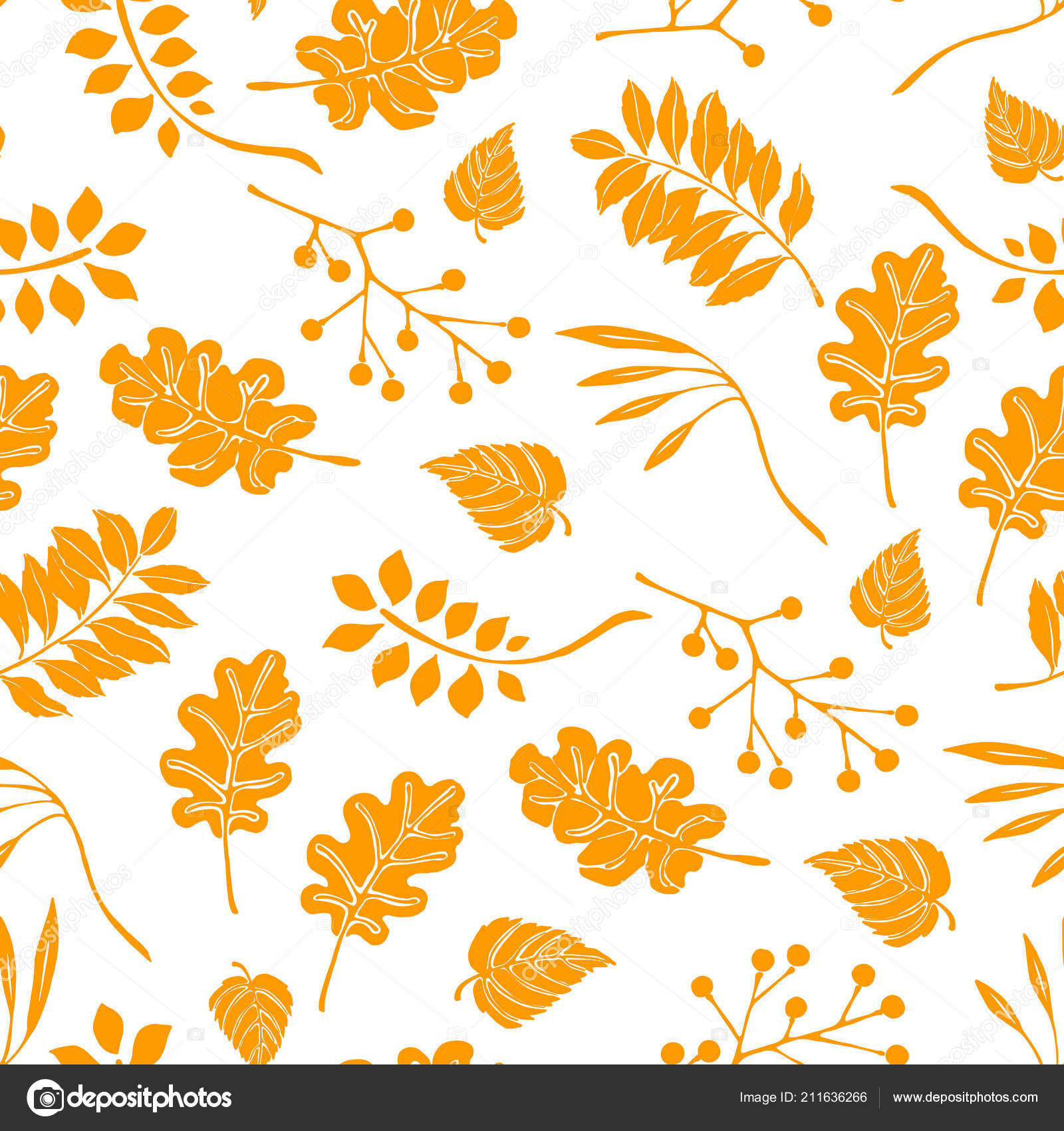 Autumn Leaves In Cartoon Style Seamless Pattern A Cute Background Seasonal Banner Stock Vector C Bsking 211636266