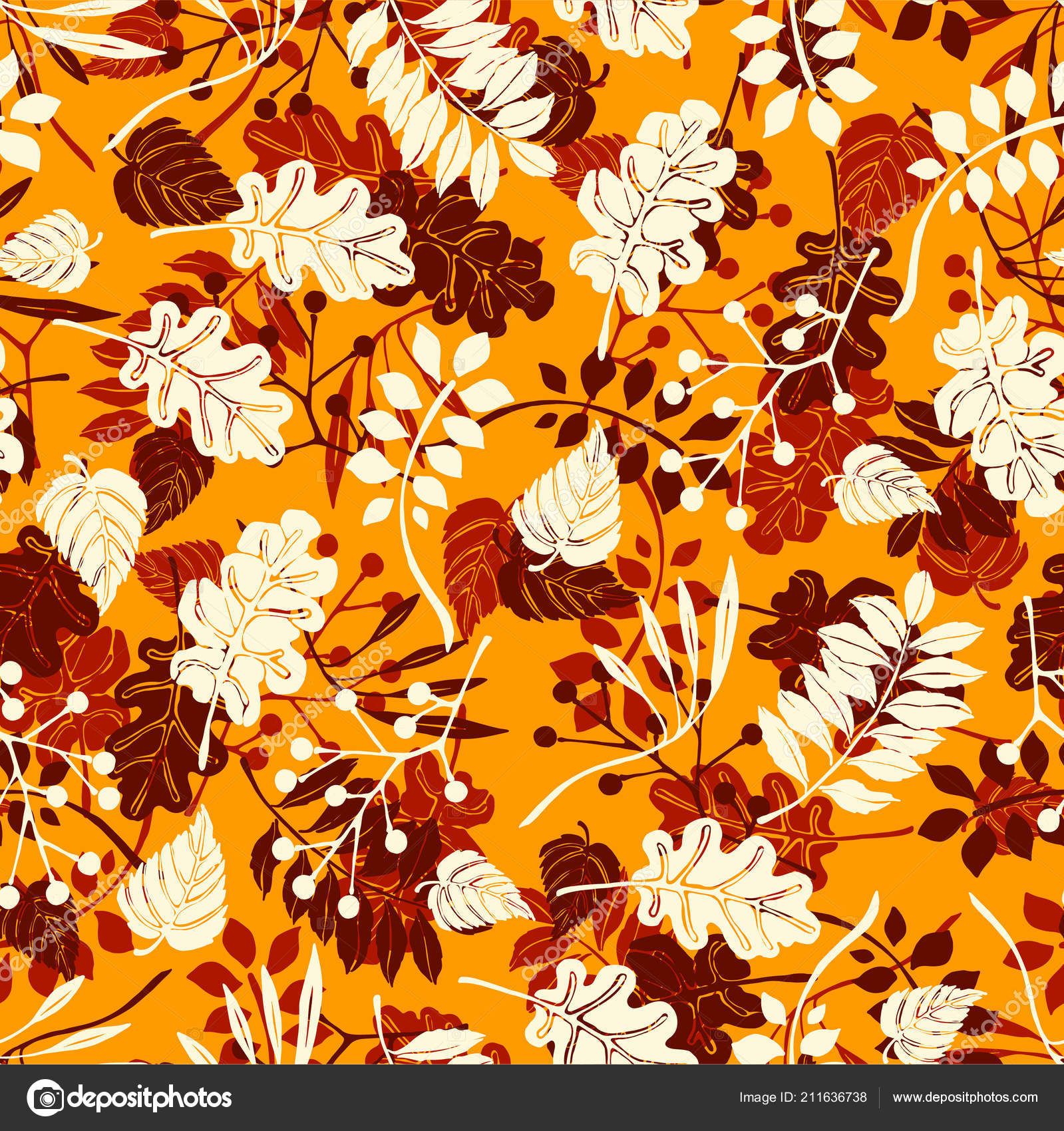 Autumn Leaves In Cartoon Style Seamless Pattern A Cute
