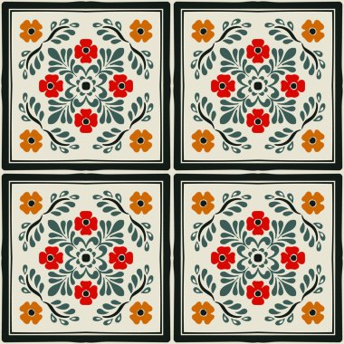 Talavera pattern.  Indian patchwork. Azulejos portugal. Turkish ornament. Moroccan tile mosaic