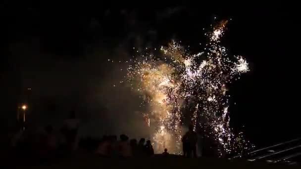 Aplikace Fireworks lidé noční obloha