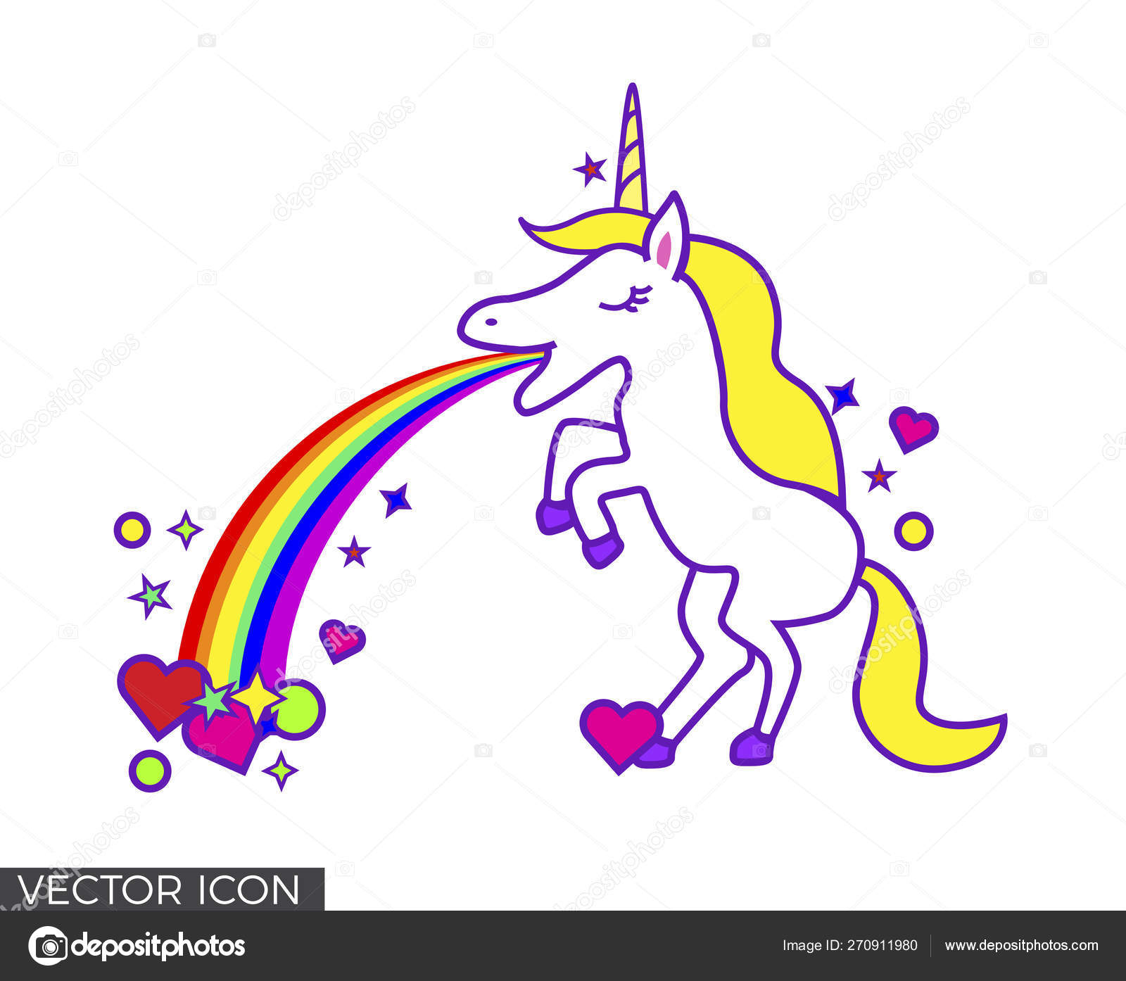 Unicorn Throwing Rainbow Shapes Vector Image By Nastazia Vector Stock 270911980