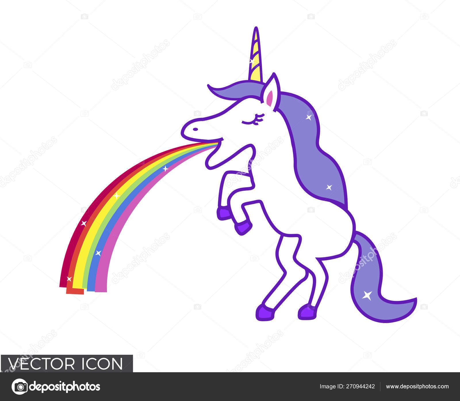 Unicorn Throwing Rainbow Stock Vector Nastazia 270944242