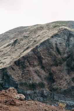 Vesuvius volcano in Italy. Top of the mountain, view of the crater and the surrounding area. High view, Naples and Pompeii below. The nature around the volcano