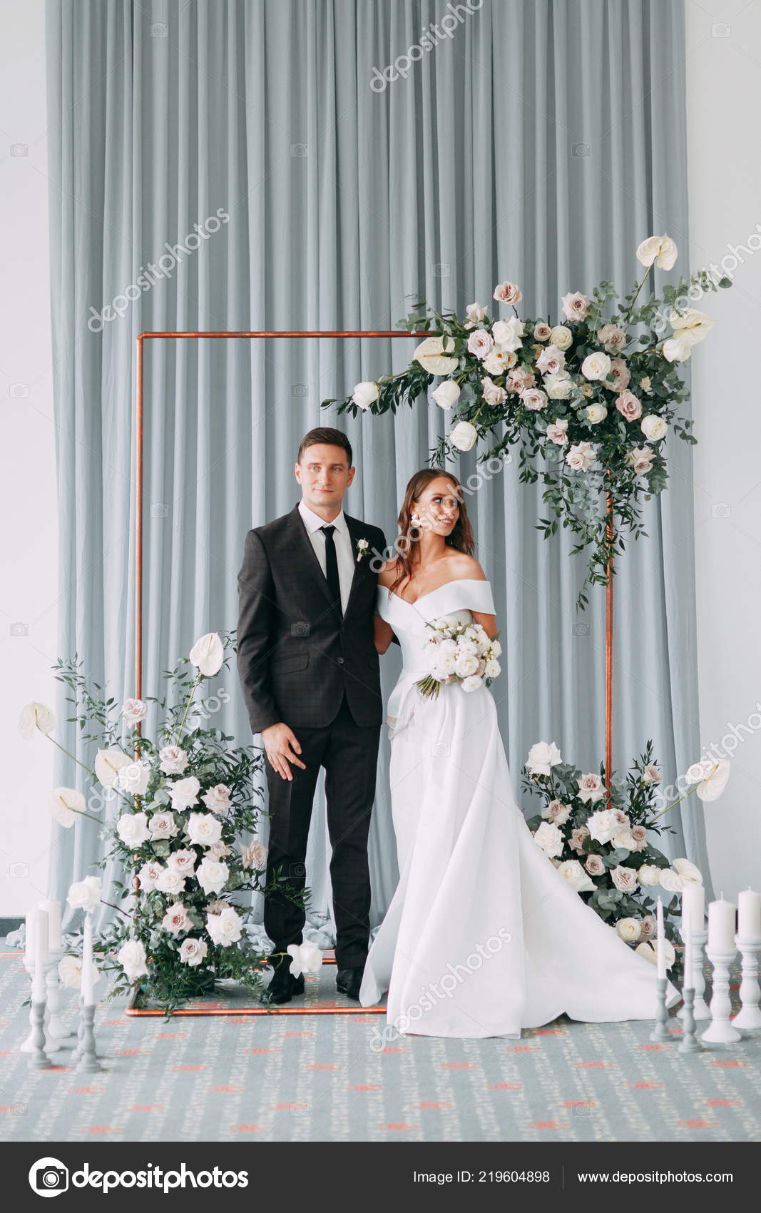 Stylish European Wedding Ceremony Bride Groom Surrounded Guests Arch