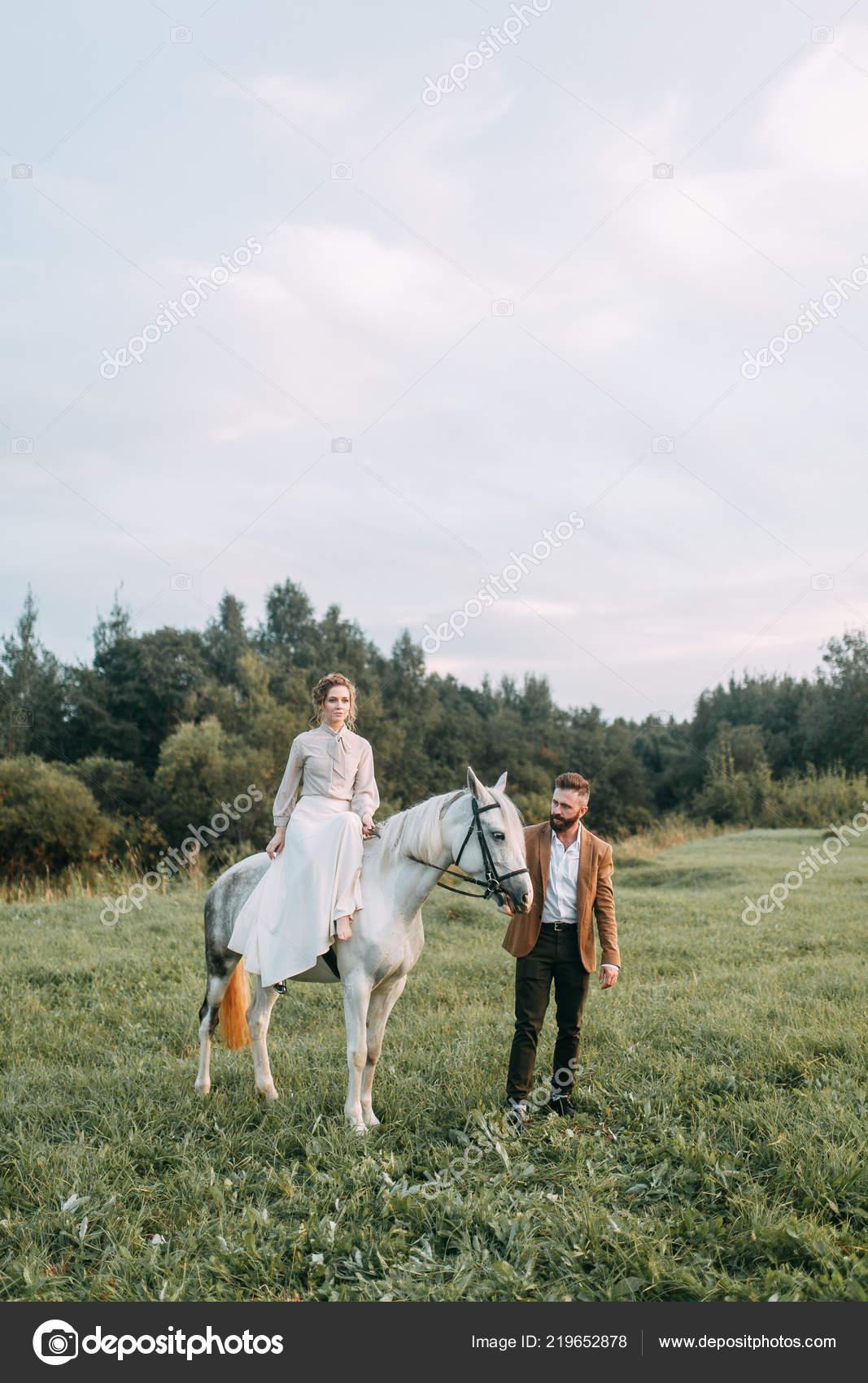 Wedding American Style Ranch Horse Walk Couples Fields Sunset Friends Stock Photo C Pavelvozmischev 219652878