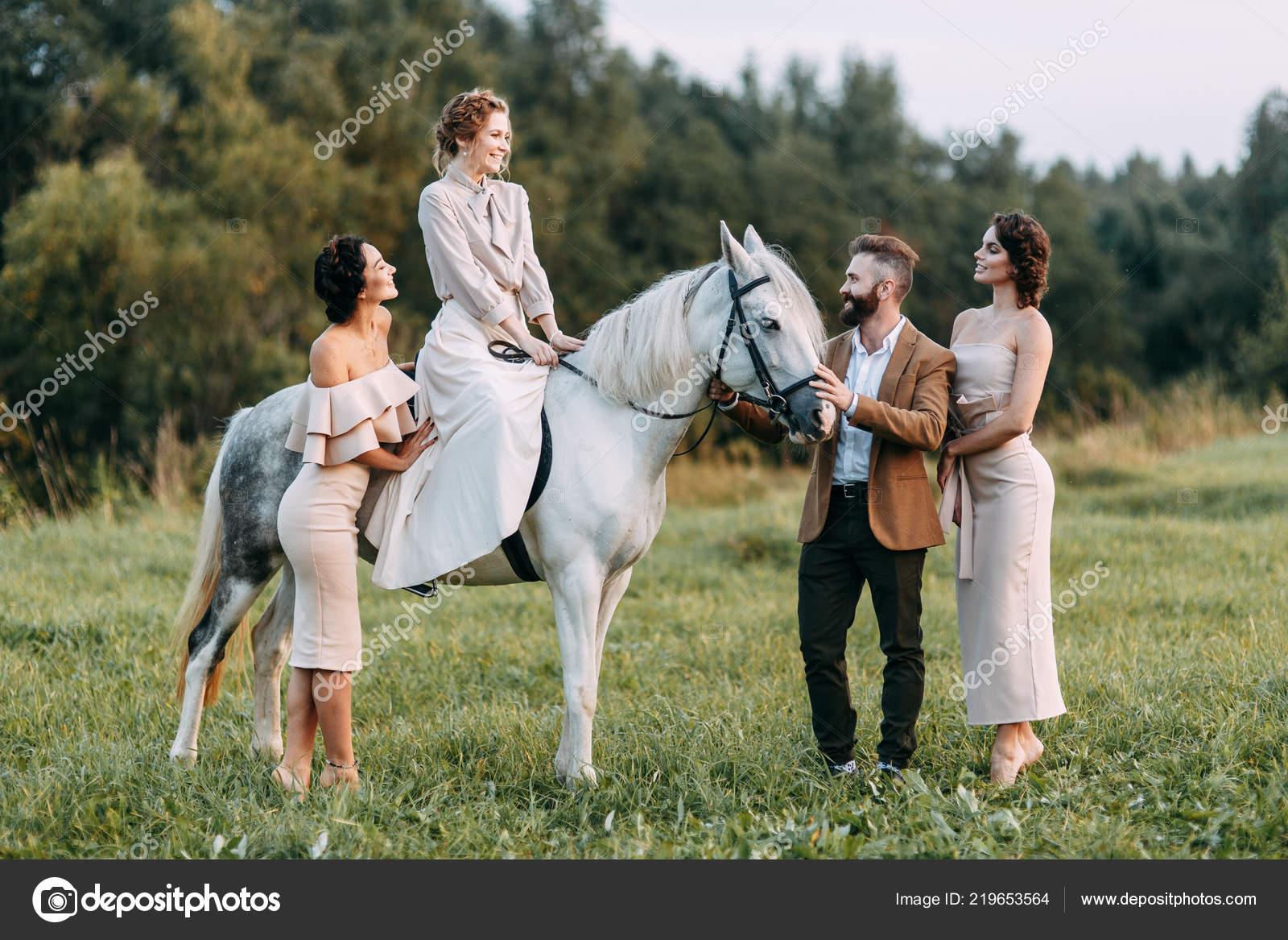 Wedding American Style Ranch Horse Walk Couples Fields Sunset Friends Stock Photo C Pavelvozmischev 219653564