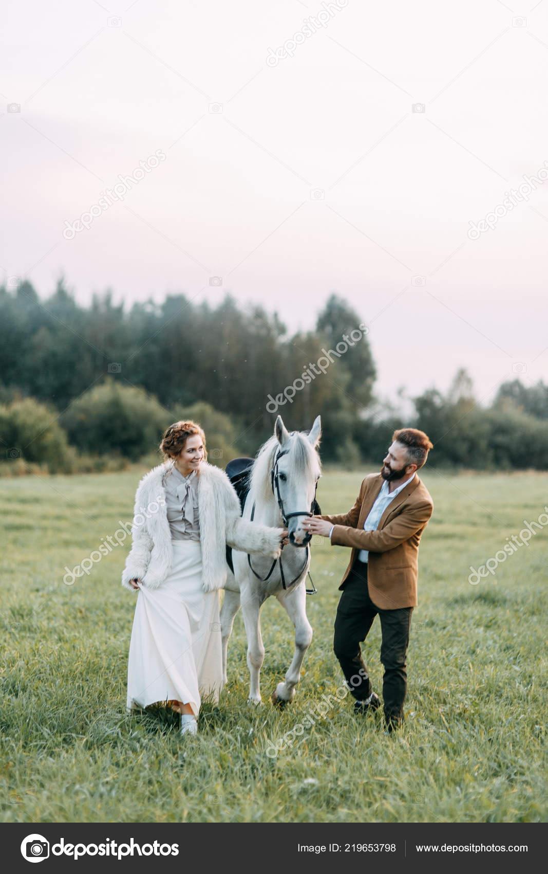 Wedding American Style Ranch Horse Walk Couples Fields Sunset Friends Stock Photo C Pavelvozmischev 219653798