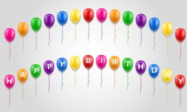 happy birthday inscription text on balloons stock vector illustration isolated on white background