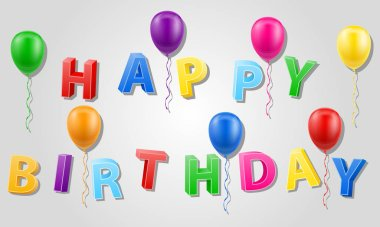 happy birthday inscription text 3d stock vector illustration isolated on white background
