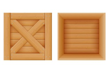 Wooden box for the delivery and transportation of goods made of wood cartoon stock vector illustration  isolated on white background icon